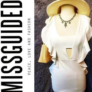 Missguided White Ruffled Dress NWT